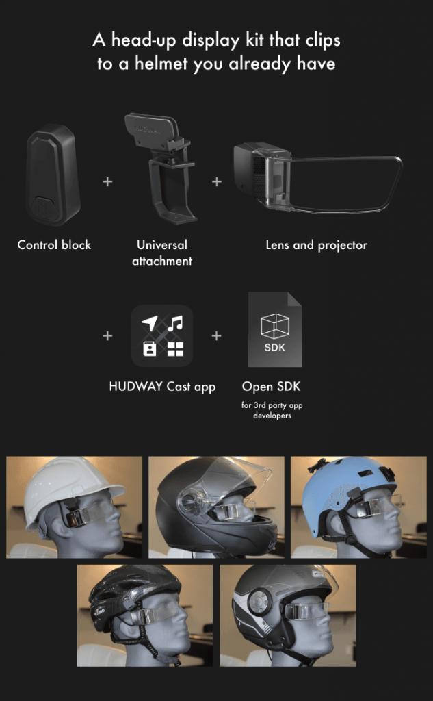 hudway sight lente inteligente casco