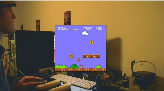 Jugando al Super Mario Bros con Google Glass y con los ojos!