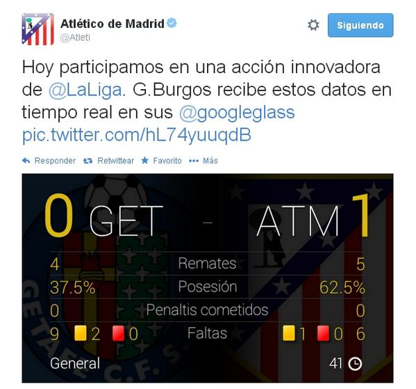 Google Glass Atletico Madrid Mono Burgos