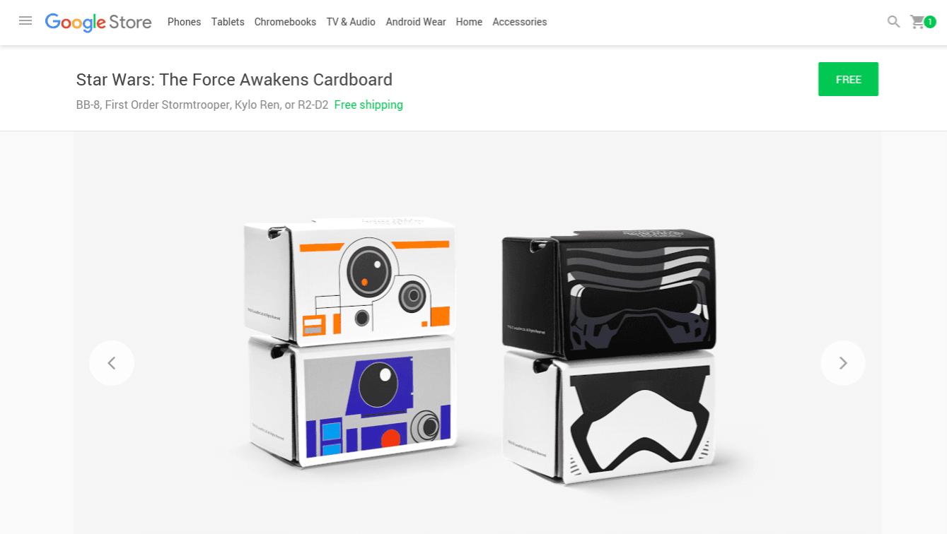 Google regala cardboard de Star Wars