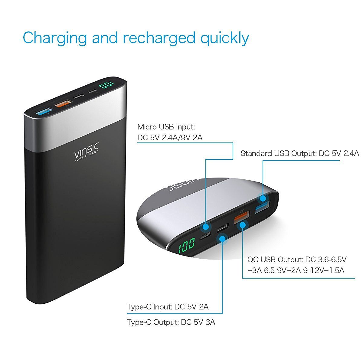 vinsic powerbank 20000 mah