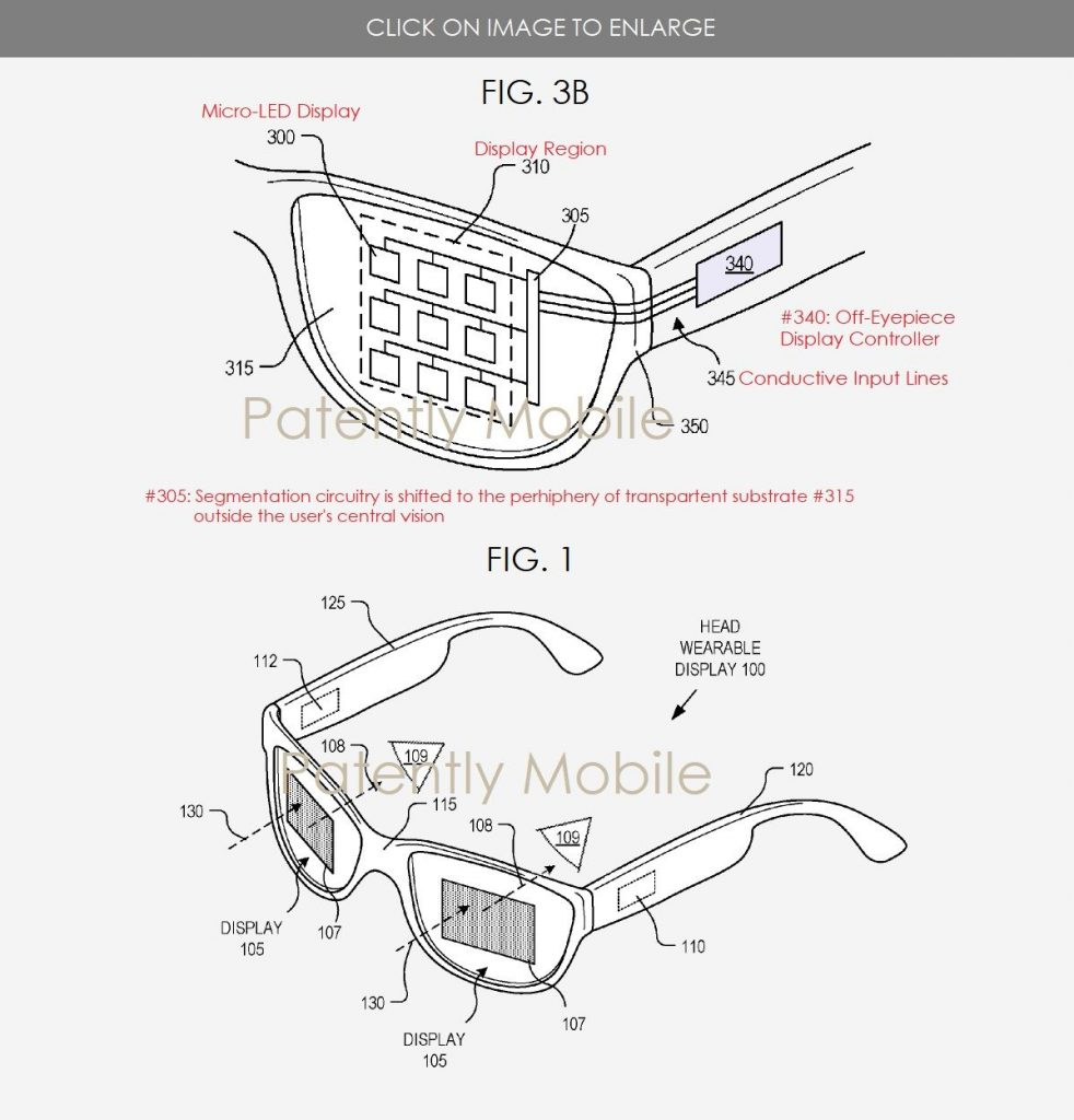 microled google glass 2018 patente