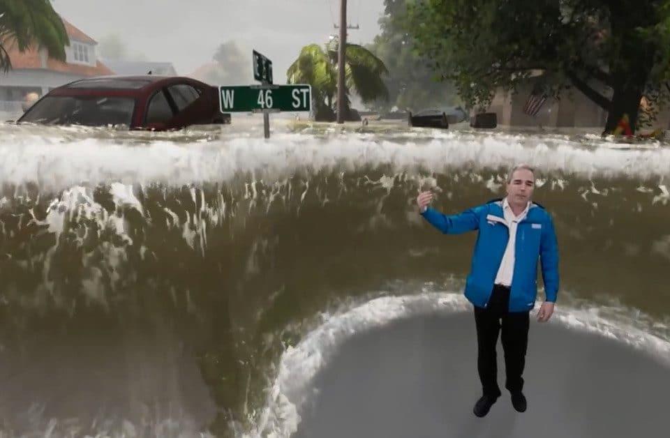 Así se muestra en un canal del tiempo el huracán Florence gracias a la Realidad Aumentada