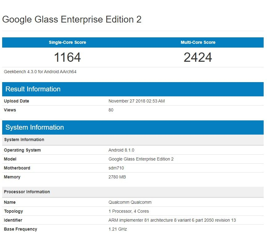 especificaciones geekbench google glass enterprise edition 2