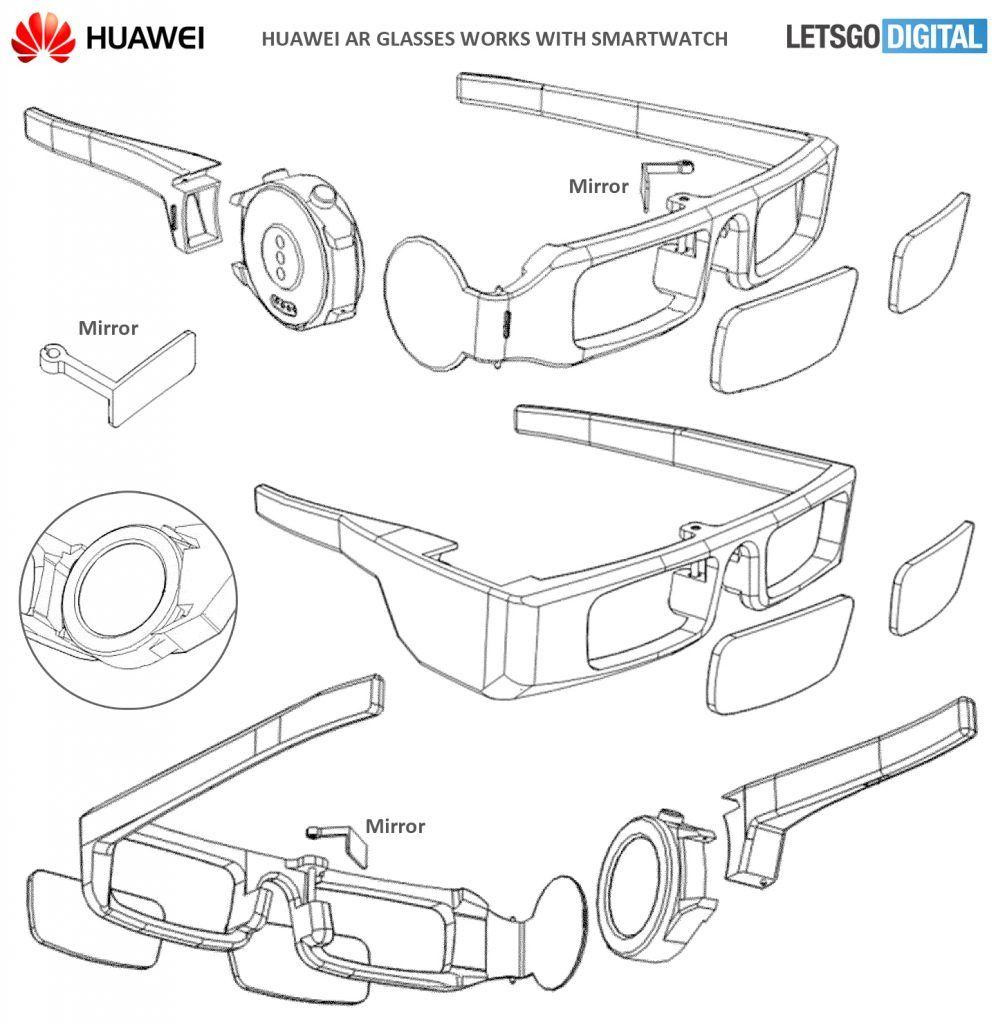 Huawei patenta unas gafas inteligentes de realidad aumentada a la que se le acopla un smartwatch