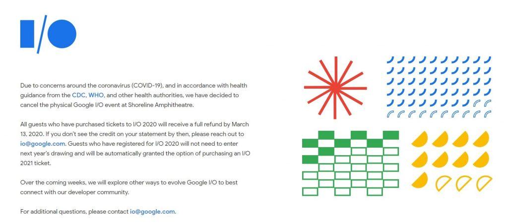 Google I/0 2020 cancelado
